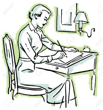14914066-a-line-drawing-of-a-woman-at-a-writing-desk